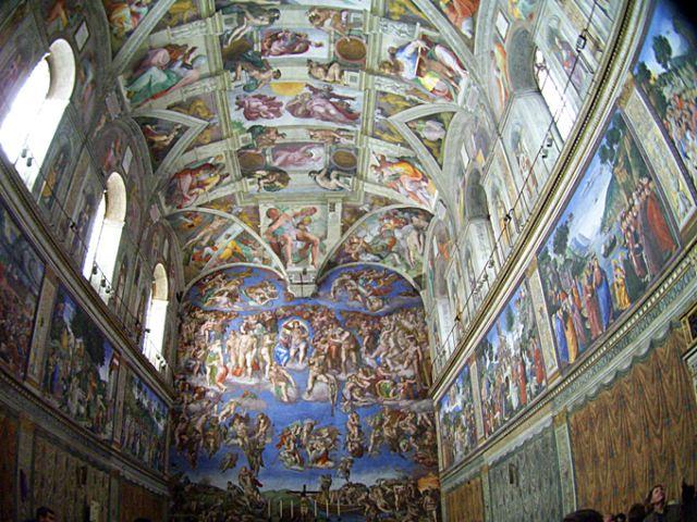 Roma: LA CAPILLA SIXTINA frontal, techo & laterales